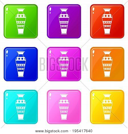 Egyptian vase icons of 9 color set isolated vector illustration