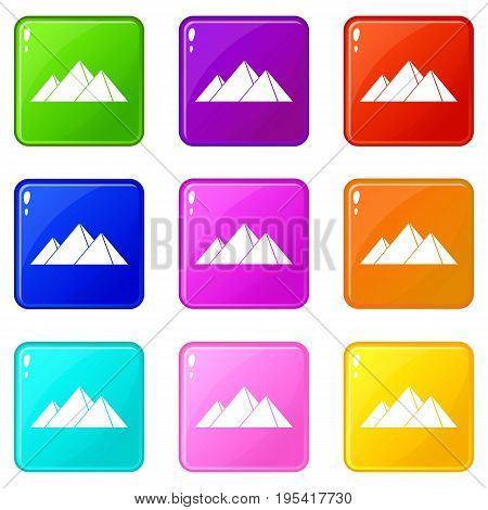 Pyramids in Giza icons of 9 color set isolated vector illustration