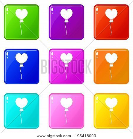 Balloon in the shape of heart icons of 9 color set isolated vector illustration