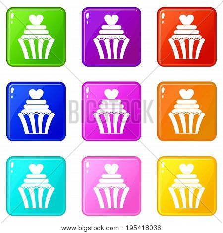 Love cupcake icons of 9 color set isolated vector illustration