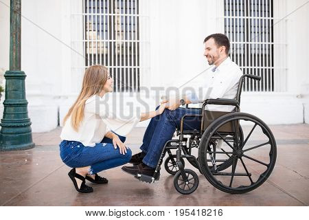 Couple In Love, Man On A Wheelchair