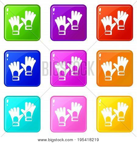 Gloves of goalkeeper icons of 9 color set isolated vector illustration