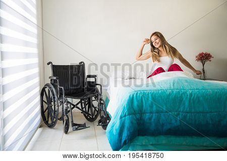 Disabled Woman Waking Up With A Smile