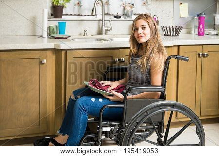 Disabled Woman Doing House Chores