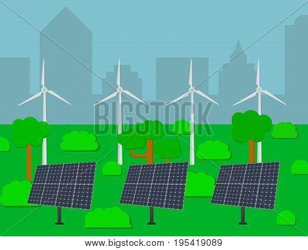 Green energy, urban landscape, ecology. Solar and wind power. Flat design vector concept illustration.
