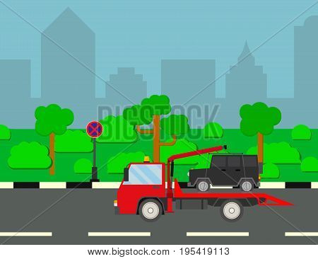 Tow truck city road assistance service. Evacuating car from tow away zone on city scape background. Evacuator of Online car help. Flat design. Vector background illustration.
