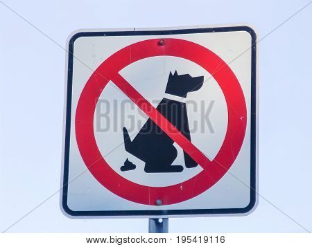 No dog pooping sign closeup, no background