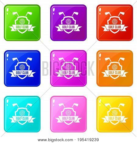 Golf club emblem icons of 9 color set isolated vector illustration