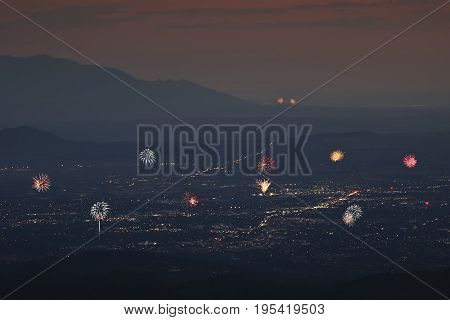 A Santa Fe and Albuquerque Fireworks Celebration Aerial Shot, New Mexico