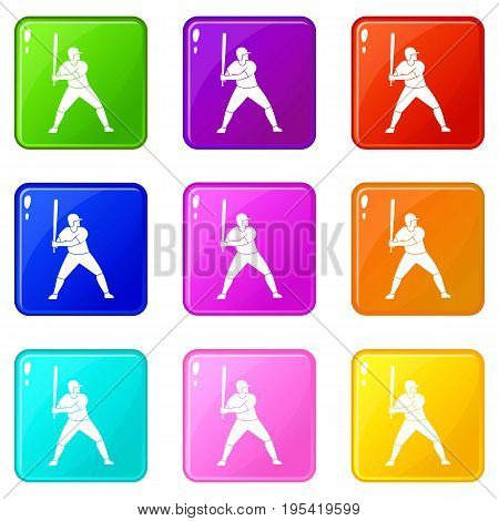 Baseball player with bat icons of 9 color set isolated vector illustration