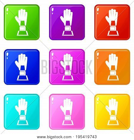 Baseball glove award icons of 9 color set isolated vector illustration