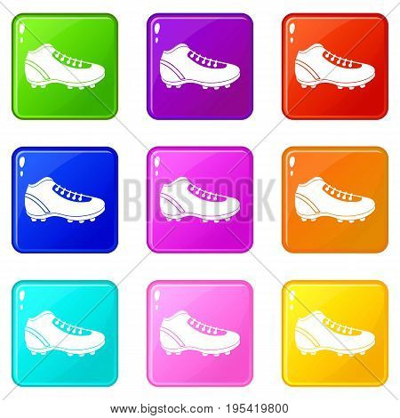 Baseball cleat icons of 9 color set isolated vector illustration