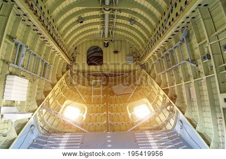 Inside The Compartment Of A Large Cargo Helicopter
