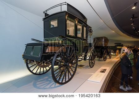 STUTTGART GERMANY- MARCH 19 2016: The first bus Benz Omnibus (Benz motorized bus) 1895. Mercedes-Benz Museum.