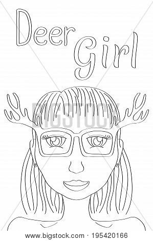 Deer Girl coloring page. Cute girl black line vector illustration. Boho style fashionista girl print. Deerhorn coloring vector illustration. Girl in glasses fashion poster. Hipster coloring book sheet