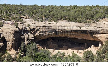 A View of Cliff Palace Mesa Verde National Park in Colorado