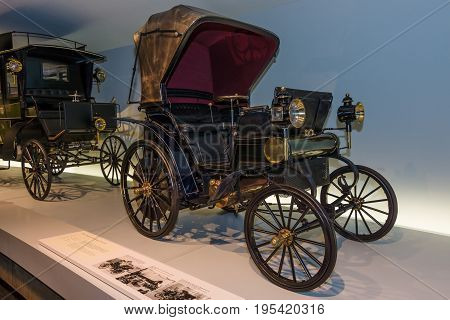 STUTTGART GERMANY- MARCH 19 2016: Vintage car Daimler Riemenwagen