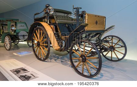 STUTTGART GERMANY- MARCH 19 2016: Vintage car Benz Dos-a-Dos 1899. Mercedes-Benz Museum.