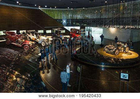 STUTTGART GERMANY- MARCH 19 2016: Exhibition pavilion with cars of the early 20th century. Mercedes-Benz Museum.