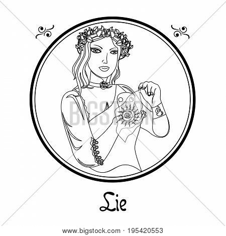 Illustration with a woman on the theme of lie.