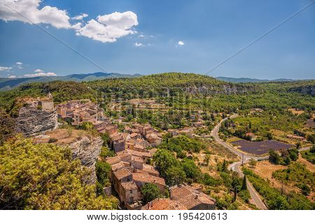 Village of Saignon with lavender field in the Luberon Provence France