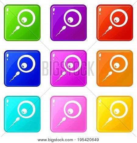 Donor sperm icons of 9 color set isolated vector illustration