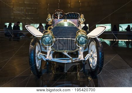 STUTTGART GERMANY- MARCH 19 2016: Vintage car Mercedes 75 PS Doppelphaeton 1907. Mercedes-Benz Museum.