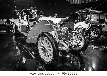 STUTTGART GERMANY- MARCH 19 2016: Vintage car Mercedes 75 PS Doppelphaeton 1907. Black and white. Mercedes-Benz Museum.