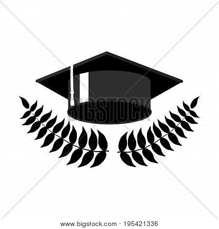 Graduation cap with laurel wreath vector illustration on white background. Black graduation cap icon or logo. Graduation day greeting card design element. Monochrome student hat. Education clipart cap