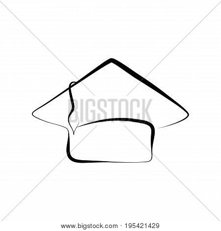 Graduation cap vector illustration on white background. Hand-drawn graduation hat isolated. Ink pen doodle student cap. Graduation day celebration symbol. Calligraphic scholar hat stamp icon or logo