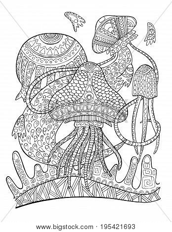Jellyfish underwater coloring page. Tropical fish doodle vector illustration. Exotic animal coloring page for adult. Jellyfish mascot adult coloring book. Coral reef fish. Animal in tribal ornament