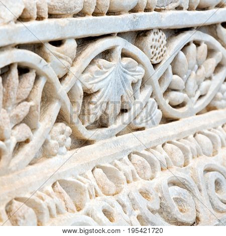 The Old Incision Of Marble For Antique Temple Exterior