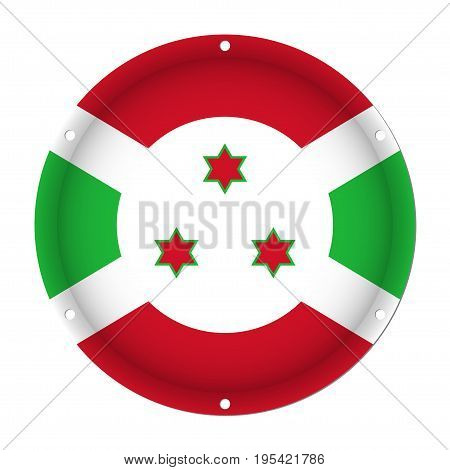 round metallic flag of Burundi with six screw holes in front of a white background
