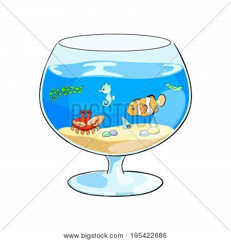 Cartoon vector illustration with aquarium and tropical fishes. Cute sea animals in fish tank. Glass fish tank with marine animals on white background. Clownfish and seahorse in water. Pet hobby image