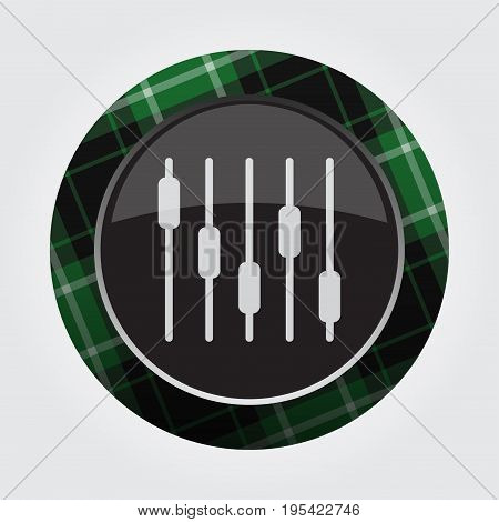 black isolated button with green black and white tartan pattern on the border - light gray mixing console equalizer symbol icon in front of a gray background