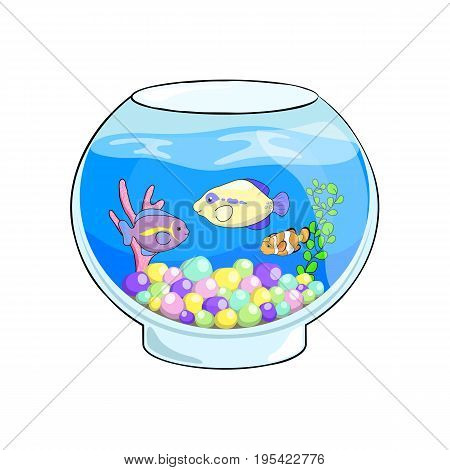 Fish tank cartoon vector illustration. Cute sea animals in aquarium. Glass fish tank with sea animal on white background. Tropical fish and coral in water. Exotic pet or hobby clipart. Marine aquarium