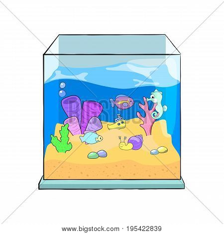 Fish tank cartoon vector illustration. Cute sea animals in aquarium. Glass fish tank with marine animal on white background. Tropical fish and coral in water. Exotic pet or hobby clipart. Sea aquarium