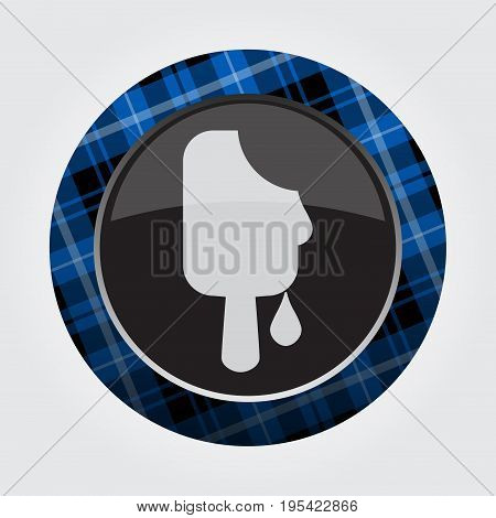 black isolated button with blue black and white tartan pattern on the border - light gray melting stick ice cream icon in front of a gray background