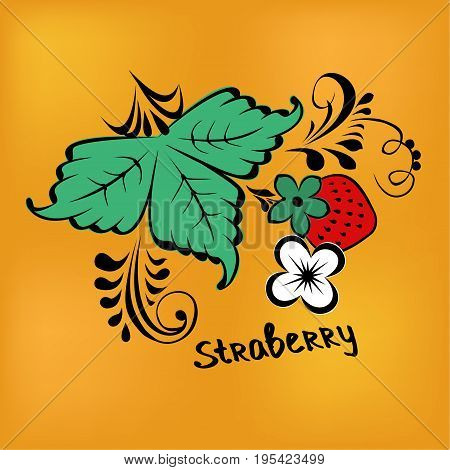 Strawberry with green leaf, white berry and flower. Vector illustration in Khokhloma style