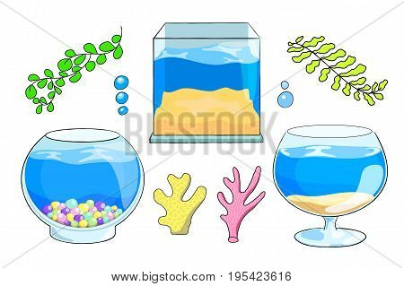 Aquarium vector illustration on white background. Empty fish tank in square round and glass shapes. Sea coral and plant for aquarium decor. Cartoon fish tank. Aquarium shop banner template. Pet shop