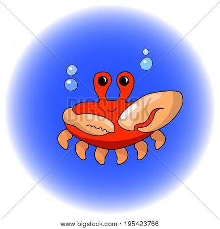 Cute crab cartoon vector illustration. Handdrawn seashore animal icon. Red crab with big claw. Ocean animal in comic style. Marine animal nursery clipart. Nautical sticker sea crab for seafood design