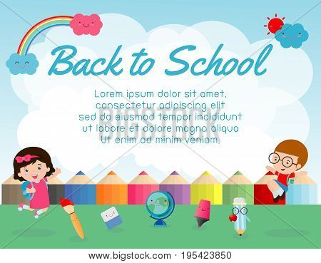 education object on back to school background, back to school, Kids jumping, education concept, Template for advertising brochure, your text ,Vector Illustration