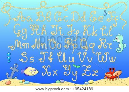 Rope alphabet vector illustration with marine animals. Marine letters on seashore background. Funny cartoon alphabet. Uppercase and lowercase rope letters. Summer marine typeface. Nautical type set