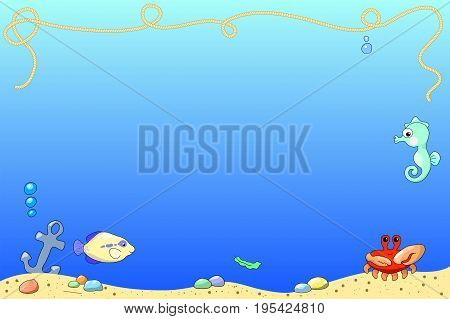 Marine background with sea animal and sand sea bottom. Aquarium vector illustration with place for text. Underwater view with sand sea bottom coral fish crab sea horse. Ocean nature cartoon banner