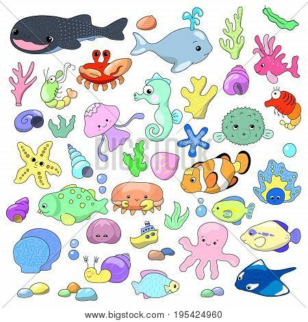 Cute sea animals vector illustration. Marine animals tropical fish corals and shells. Nautical stickers with lovely sea characters. Tropical sea inhabitants nursery art. Lovely dolphin shark whale