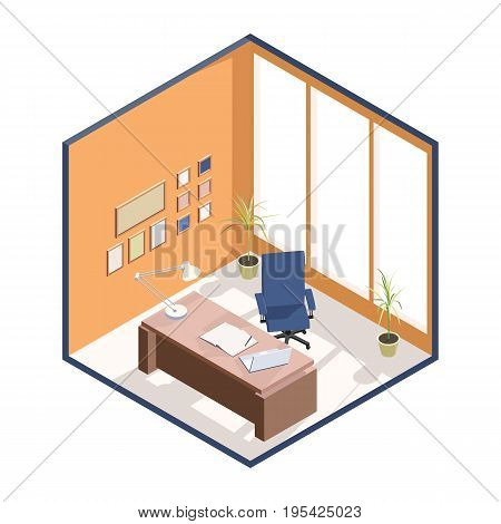 Isometric Boss Office with chair and desk. Workplace with notebook and laptop vector illustration.