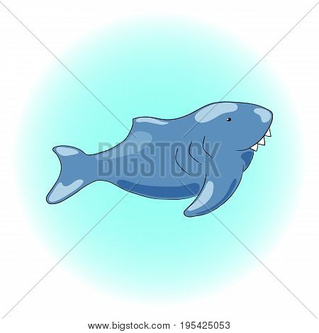 Cute white shark with white teeth vector illustration. Smiling shark clipart. White shark nursery drawing. Dangerous marine fish sticker. Sea animal predator. Seaside threat. Big fish. Nautical logo