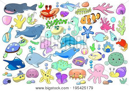 Sea animal and fish cartoon vector illustration. Marine animals clipart. Cute dolphin. Aquarium fishes. Sea tortoise. Tropical seashore animals. Lovely sea mascot sticker. Shark icon. Seahorse drawing