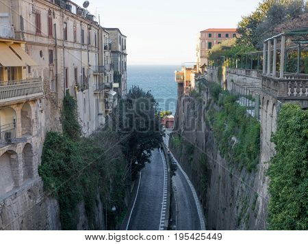 Sorrento street view with road and sea, Italy