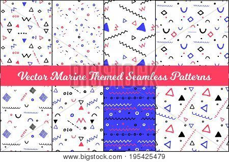 Abstract marine seamless pattern set. Vector pattern collection in nautical colors. Child drawing vector pattern. Abstract handdrawn geometric shapes on white background. Clean nautical wrapping paper